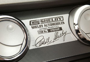 2007 Ford Shelby GT signature plate