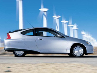 hybrid in front of wind turbines