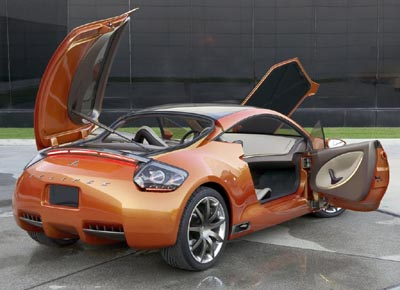 Mitsubishi Eclipse Concept-E with the doors and boot opened