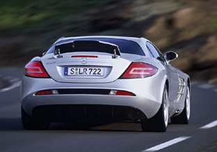 Mercedes Mclaren SLR rear view with active braking spoiler