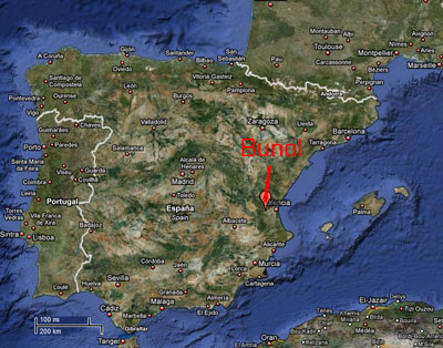 Location of Bunol on Spanish map