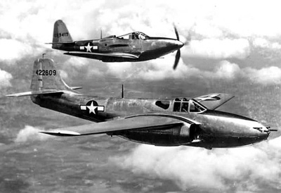 Bell P-59A Airacomet and a P-63 (background)