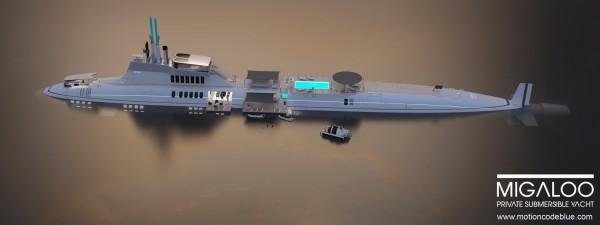 motion code: blue MIGALOO luxury submarine