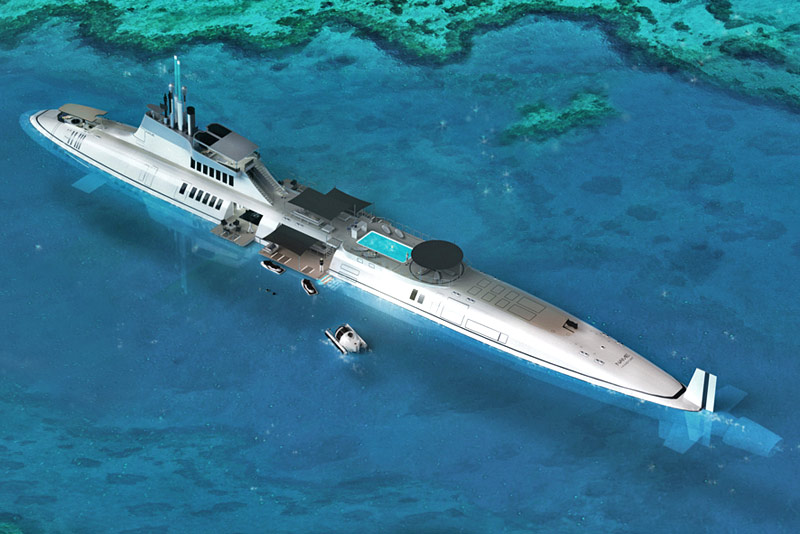 motion code: blue MIGALOO luxury submarine