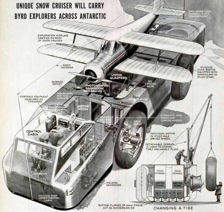Antarctic Snow Cruiser diagram from the 1930s