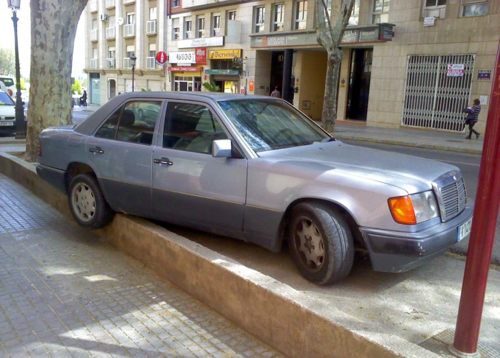badly parked Mercedes