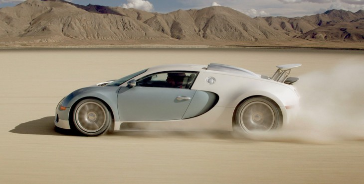 Bugatti Veyron driving in the desert
