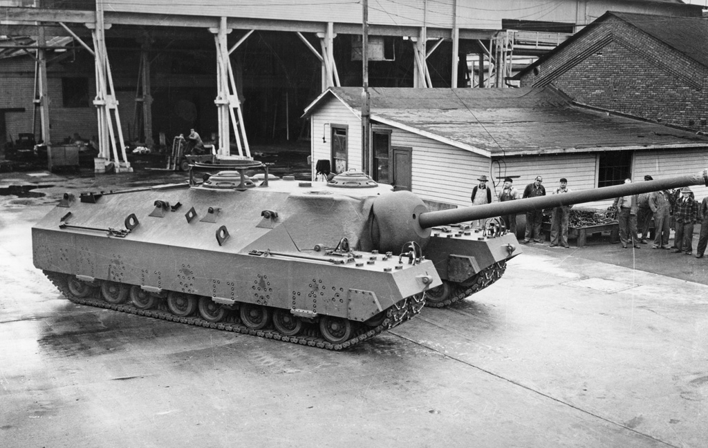 T28 Super Heavy Tank outside factory