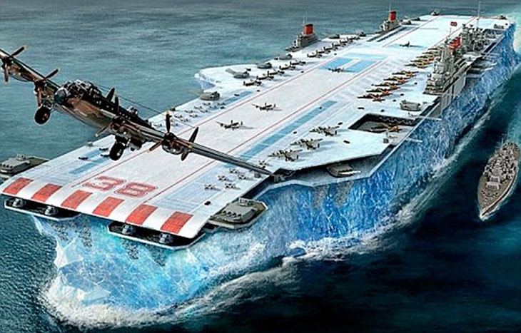 Habakkuk aircraft carrier made from Ice (Pykrete)